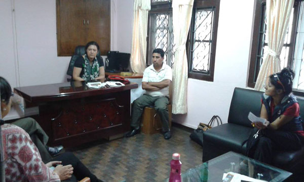 ArunasNepalRelief member meets with her Nepal contact