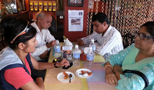Sitaram Bhattarai ji on the right next to mom and his main contact, the village head master on the left next to me