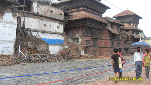 Much devastation to the surrounding of the heart of the city Kathmandu, Nepal.