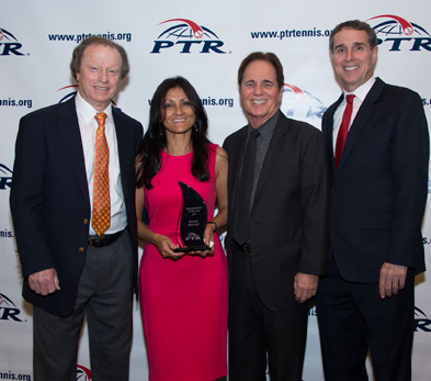 Photo from left: PTR Board President Roy Barth, Aruna Bernier, PTR Foundation Chair Scott Tharp and PTR CEO Dan Santorum