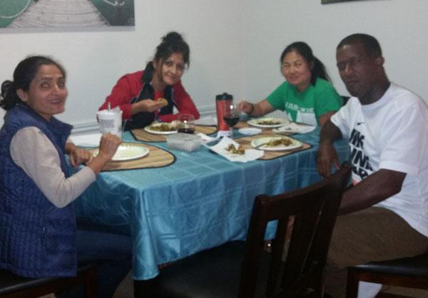 Coach Sujay's wife Lynne, brother, coach Raj and their friend coach Reggie, myself and Radha ji were invited to a wonderful Nepali lunch that coach Raj prepared himself. Radha ji and myself had another meeting after lunch. Thank you coach Raj!